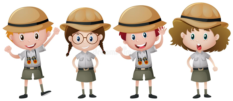Four kids in safari outfit. Illustration stock illustration