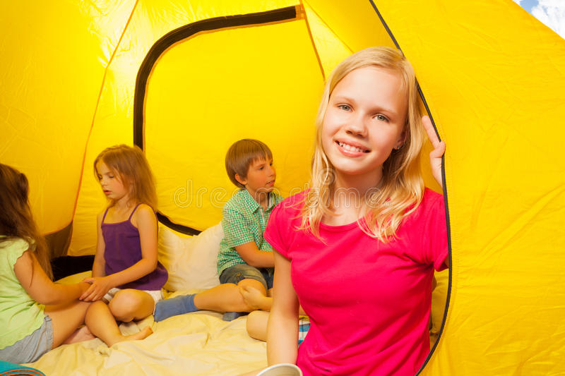 Download Four kids sit in a tent stock photo. Image of lifestyle - 43079574