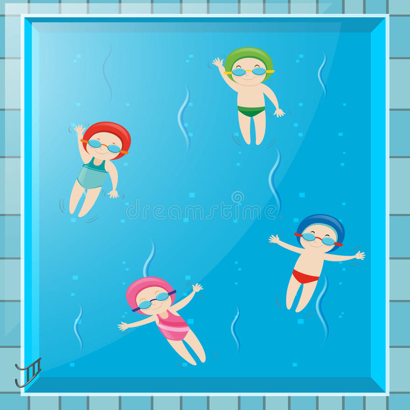 Four kids swimming in the pool. Illustration royalty free illustration