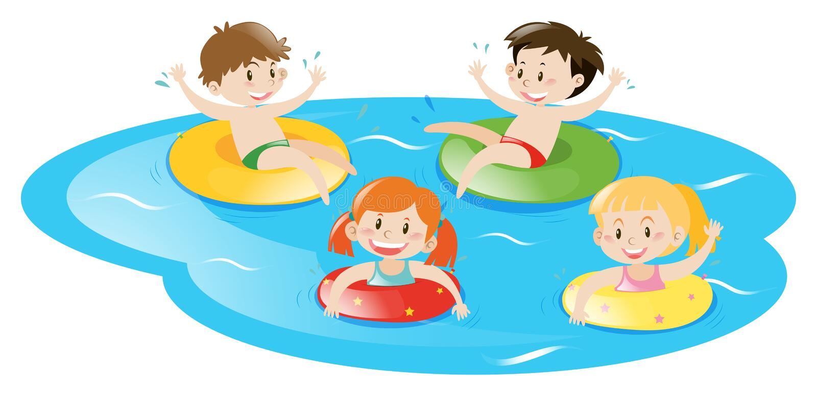 four kids swimming in pool stock vector illustration of student rh dreamstime com kids swimming clipart free Cartoon Swimming Pool