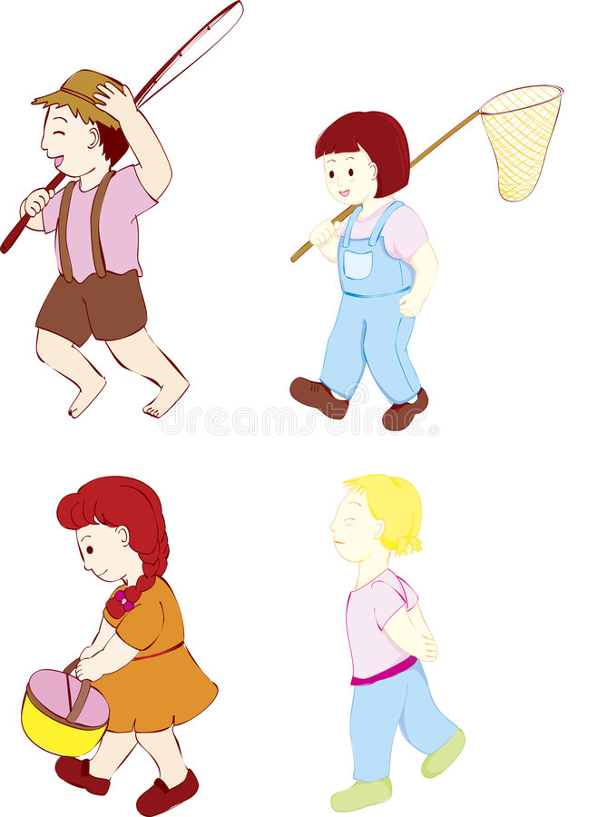 Download Four kids walking stock vector. Image of printing, happy - 7513382