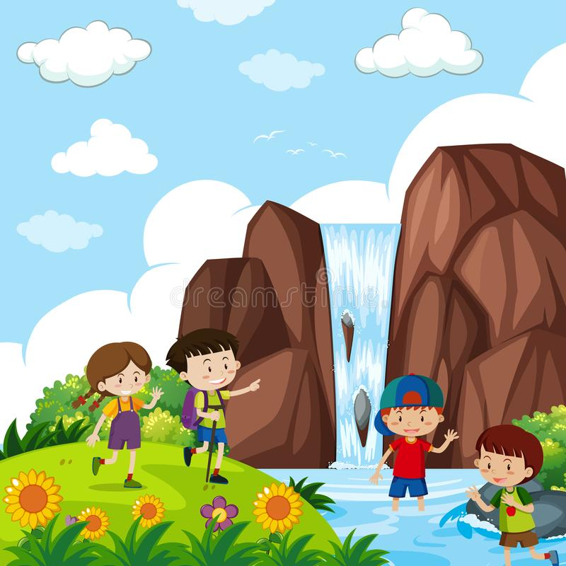 Four kids by the waterfall vector illustration