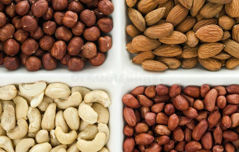 Four kinds of nuts in four compartments: cashews, peanuts, hazelnuts, and almonds stock photo
