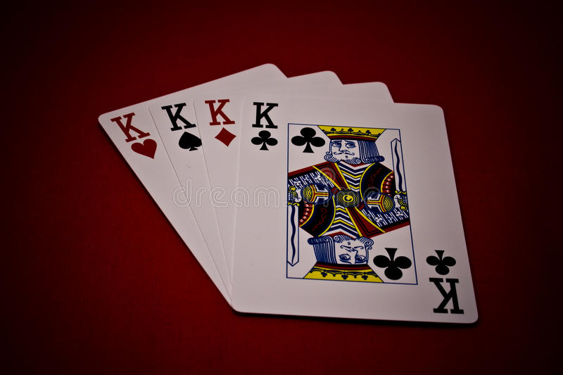 Four of a kings. Good poker combination four of a kings royalty free stock image