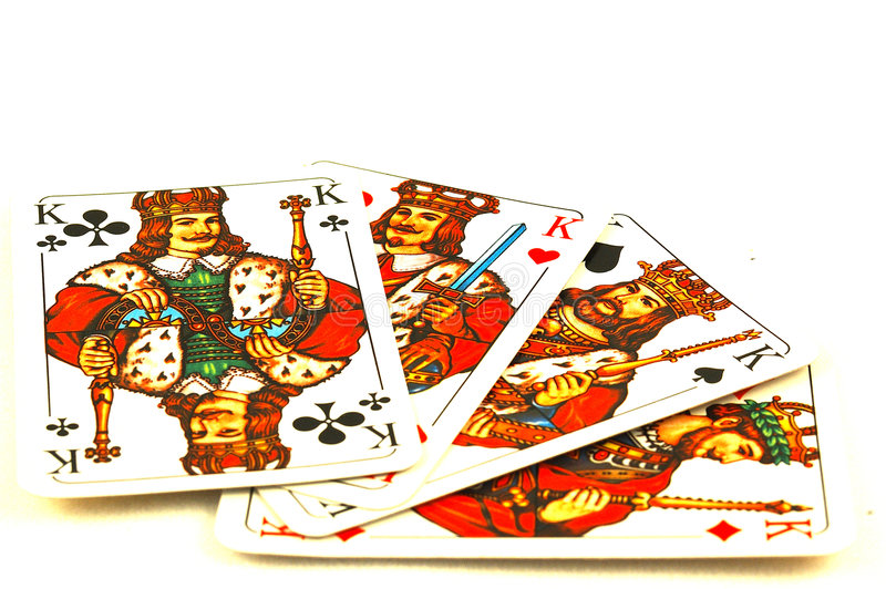 Four kings poker cards stock image