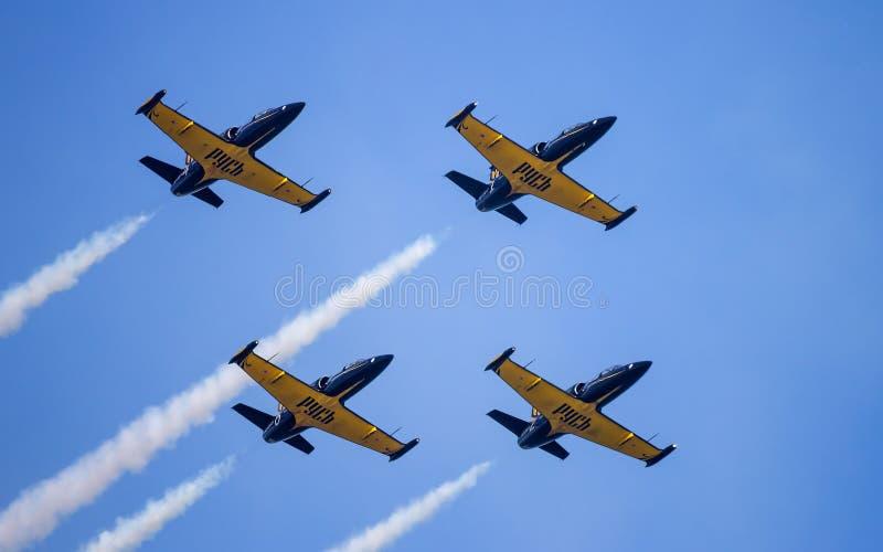 Four of L-39 Albatross. Russian aerobatic team Russ. royalty free stock image