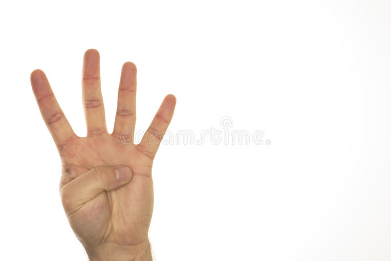 Four fingers on one hand spread stock images