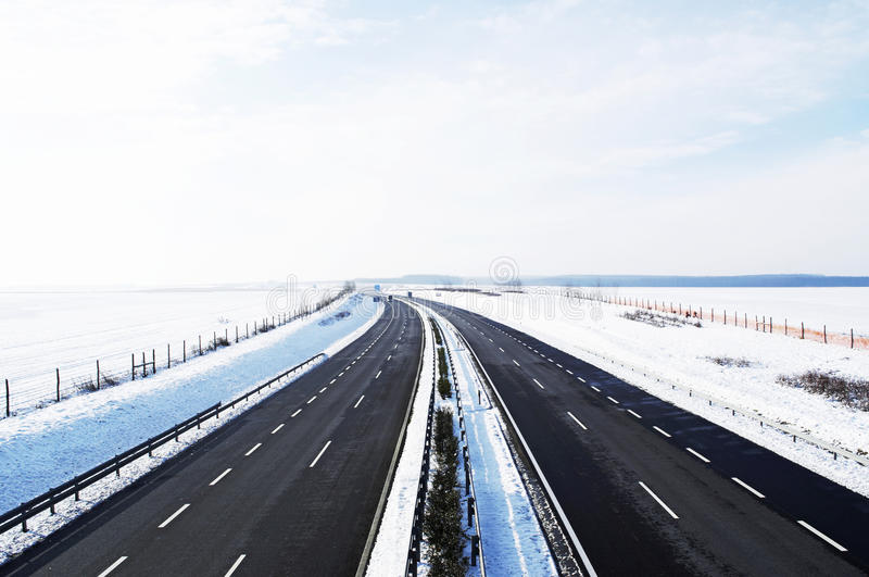 Four-lane Highway In Winter Royalty Free Stock Photo