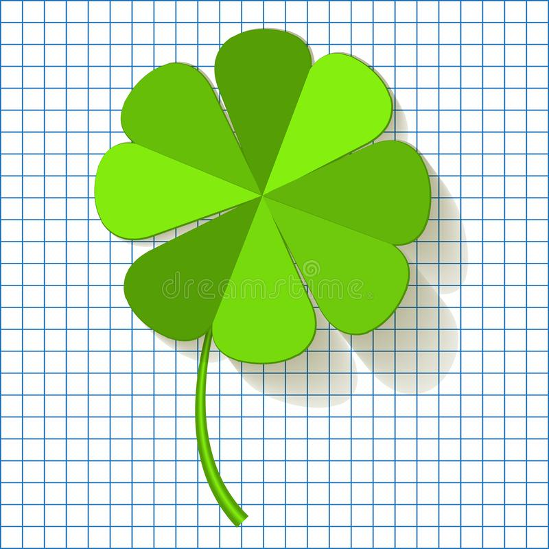 Four Leaf Clover on a checkered paper background. royalty free illustration