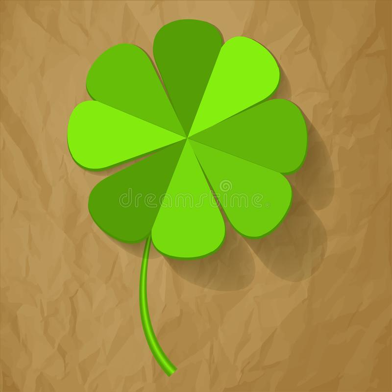 Four Leaf Clover on a crumpled paper brown background. vector illustration