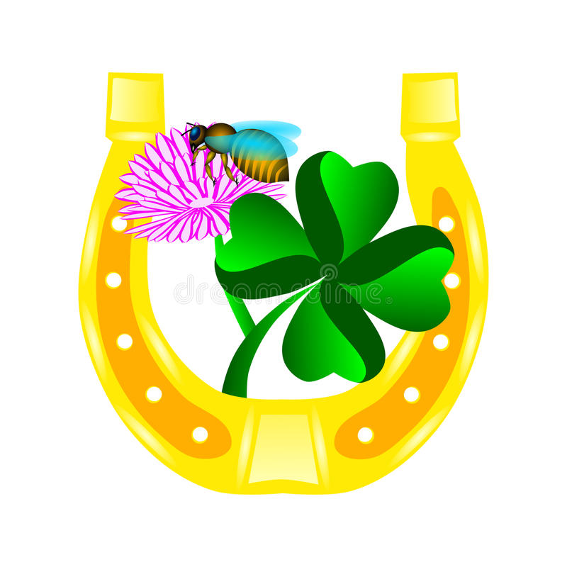 Four leaf clover and golden horseshoe stock illustration