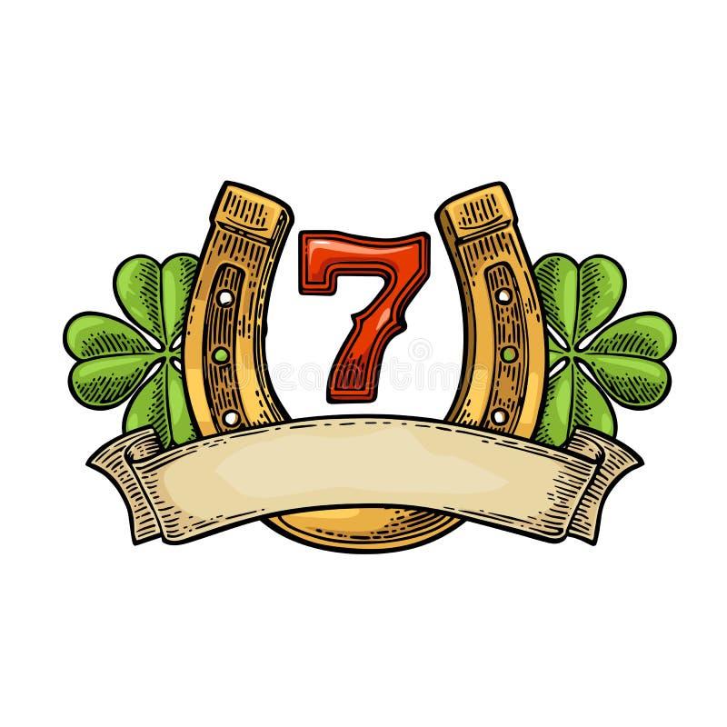 Four leaf clover, horseshoe, number seven, ribbon. Vintage vector engraving. Four leaf clover, horseshoe, number seven, ribbon. Vintage vector color engraving royalty free illustration