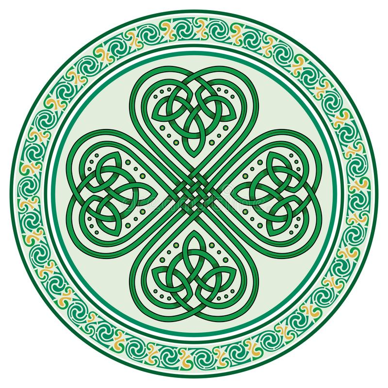 Four-leaf clover. Irish symbol in the Celtic style for the feast of St. Patrick. Isolated on white, vector illustration royalty free illustration