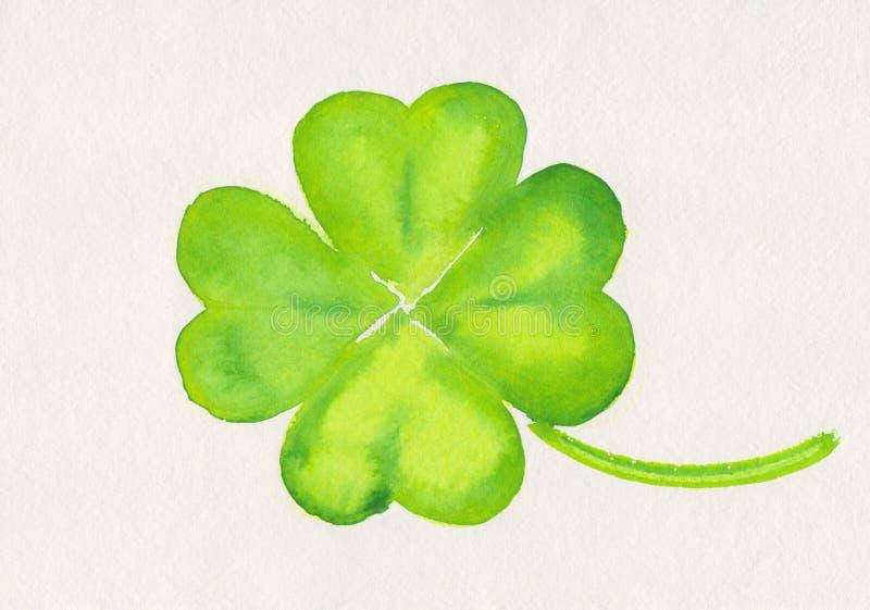 Four-leaf clover painting stock photos
