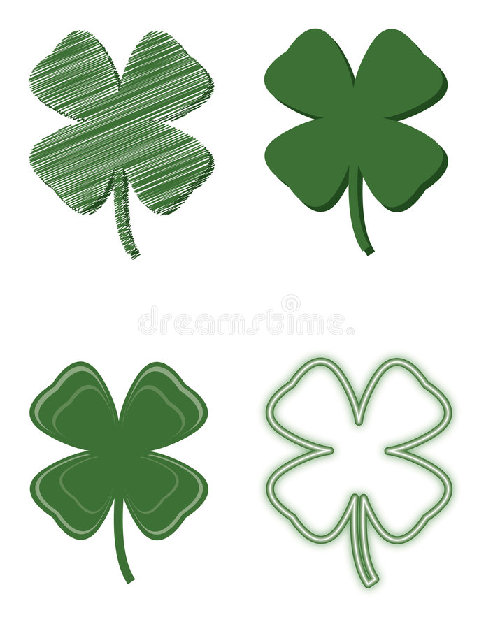 Four Leaf Clover Variety stock illustration