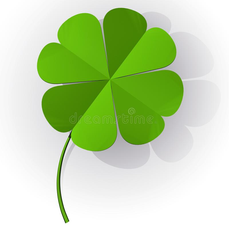 Four leaf clovers 3D object. stock illustration