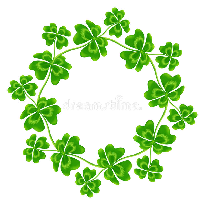 Four-leaf clovers vector round frame royalty free illustration