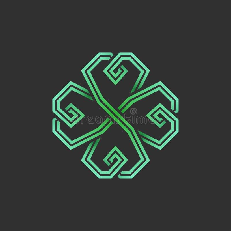 Four leaf emerald green shamrock in Celtic style vector illustration