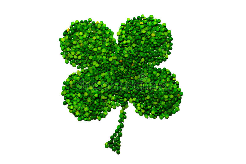 Download Four-leaf Lucky Clover Made Of Peas Isolated Stock Photo - Image: 12027996
