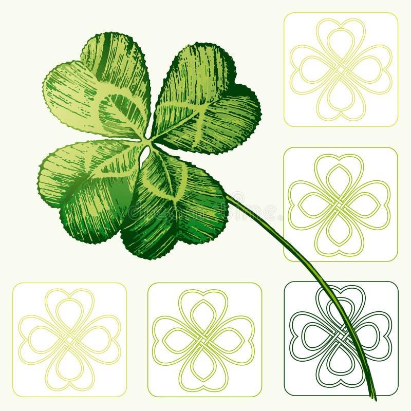 Four Leafed Clovers vector illustration