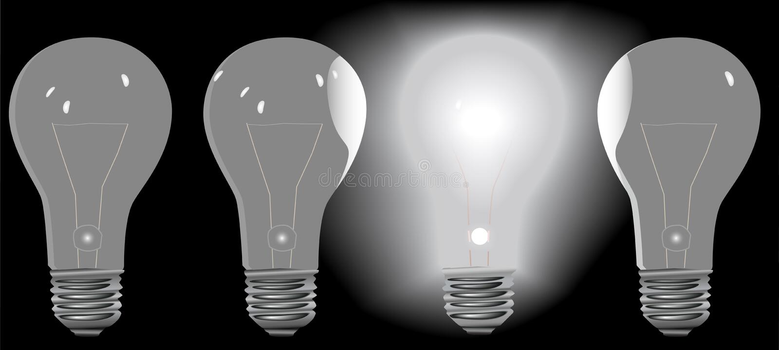 Download Four Light Bulbs In A Row 3 OFF 1 ON Royalty Free Stock Photography - Image: 4724047