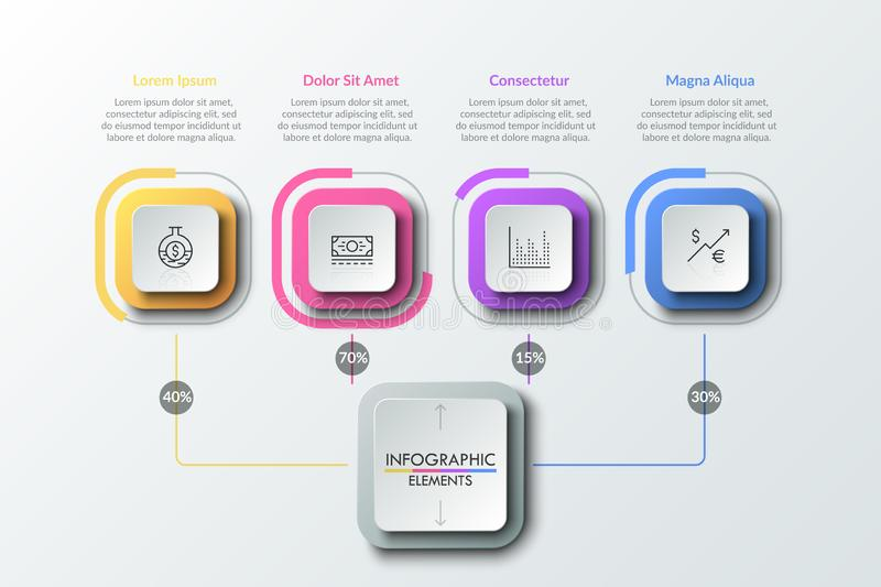 Modern infographic design template. Four linear pictograms inside colorful squares connected with main element by lines with percentage indication. Flowchart royalty free illustration