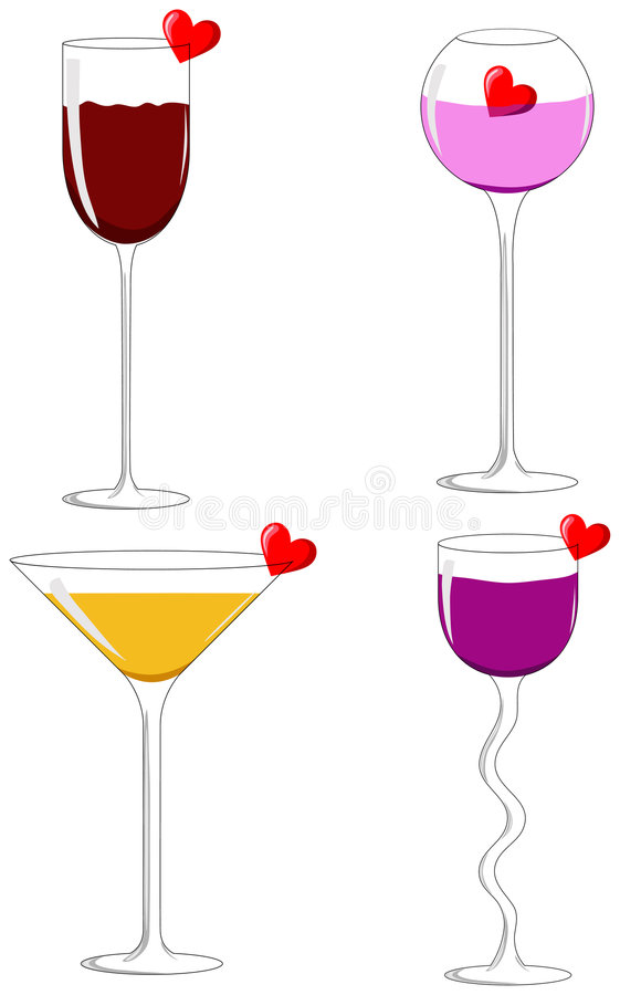 Four love glasses royalty free stock photography