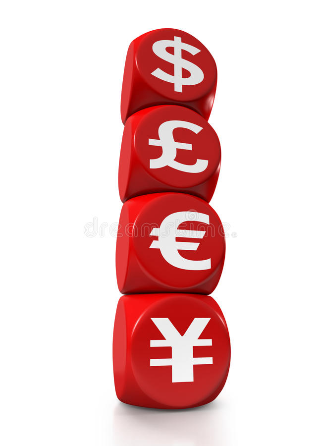 Four main currency symbols of the world. As red cubes on white background vector illustration