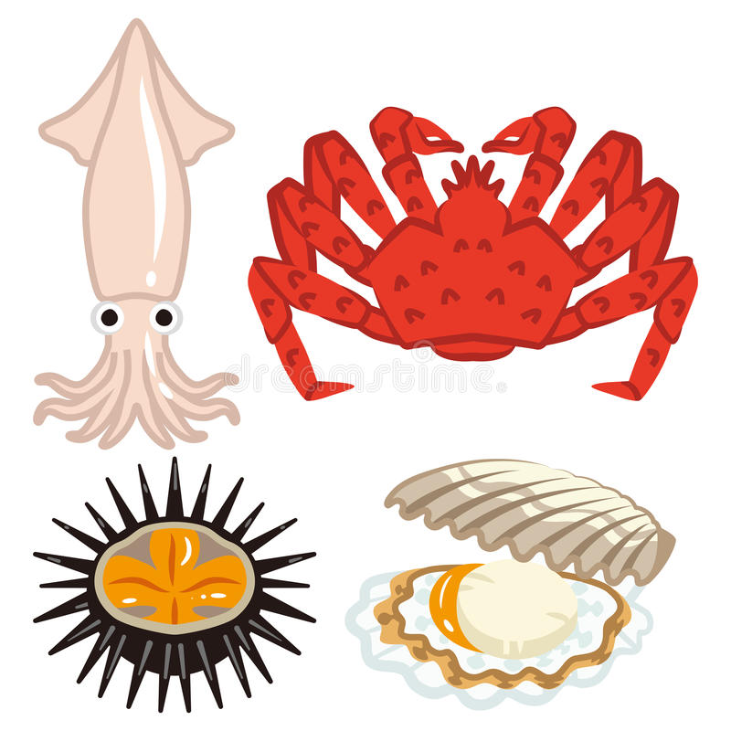 Four marine products set vector illustration