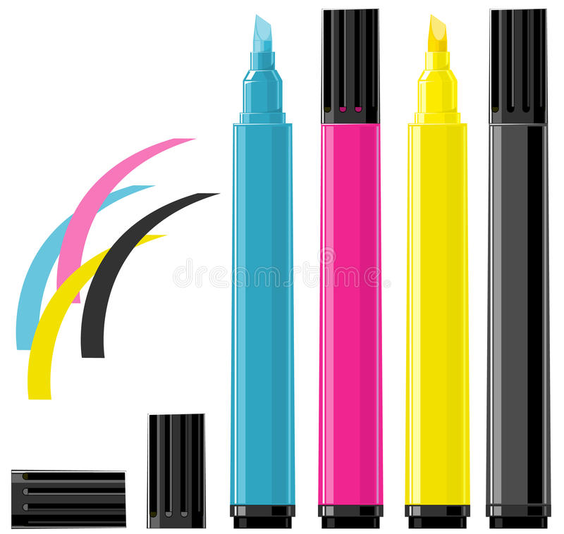 Four markers - cyan, magenta, yellow and black royalty free illustration