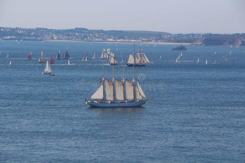 Four-masts schooner in natural harbor of Brest. Four-masts schooner and other boats in natural harbor of Brest stock photo