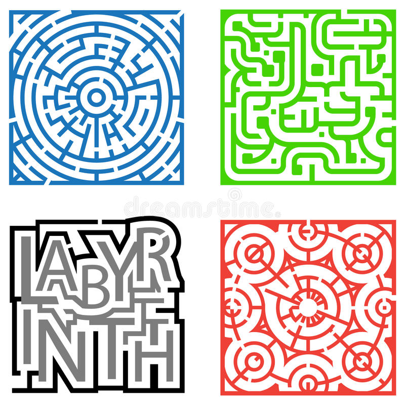 Four Mazes Royalty Free Stock Images