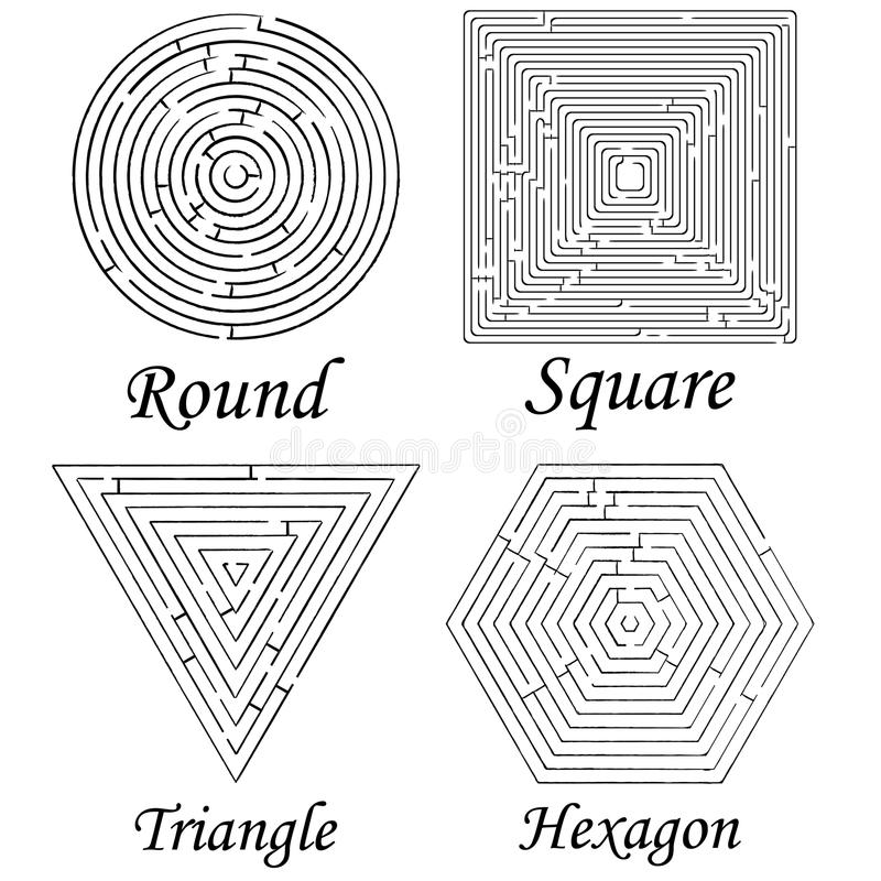 Download Four Mazes Shapes Against White Stock Vector - Image: 15270622