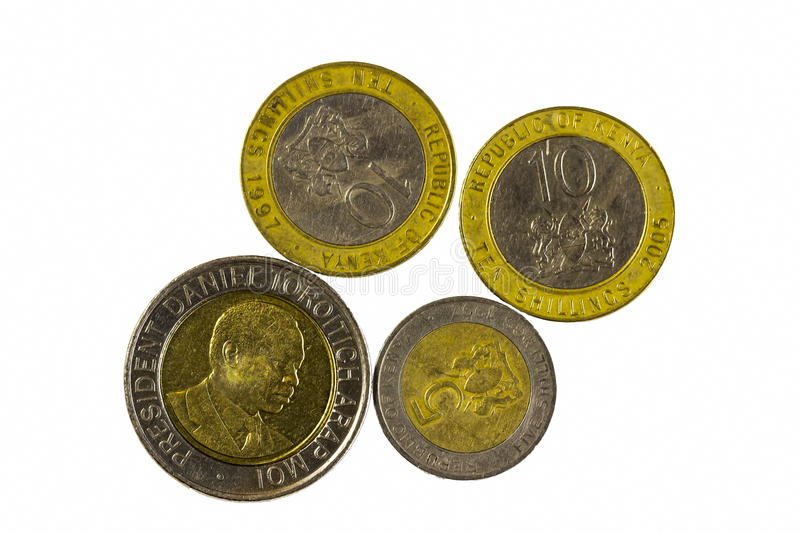 Four Metal Coins From Republic Of Kenya royalty free stock photography