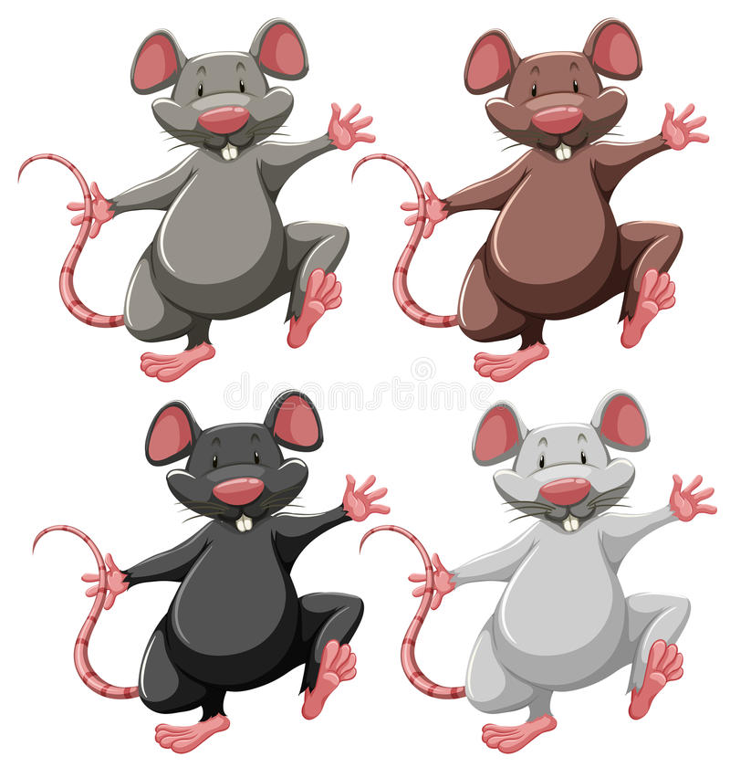 Four mice. Of different colors royalty free illustration