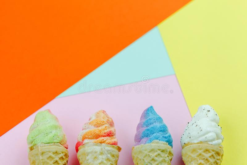 Four mini model ice cream on colorful background.selective focus. royalty free stock photography
