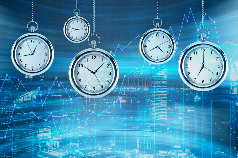 Four models of pocket watches are hovering in the air over financial graphs background. A concept of a value of time in financial. Markets. New York view on stock images