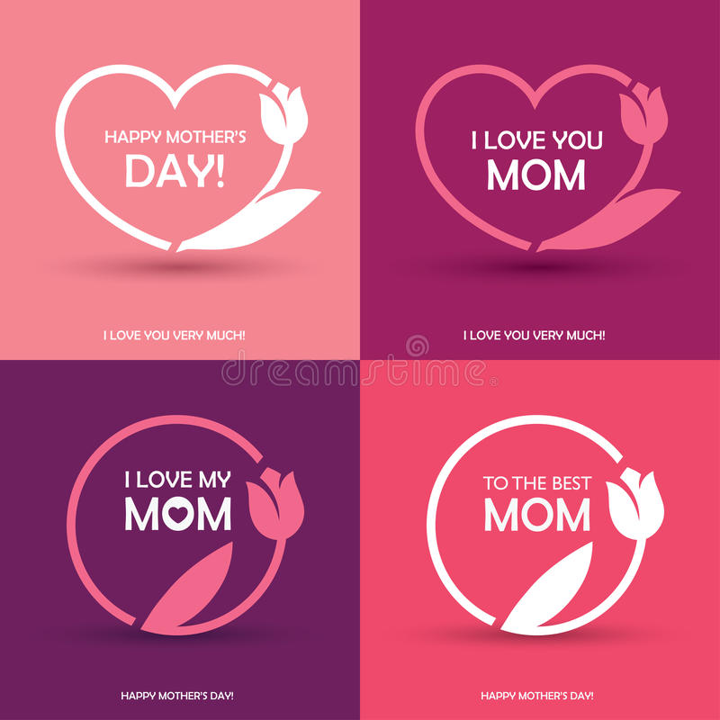 Four Mothers Day greeting cards vector illustration