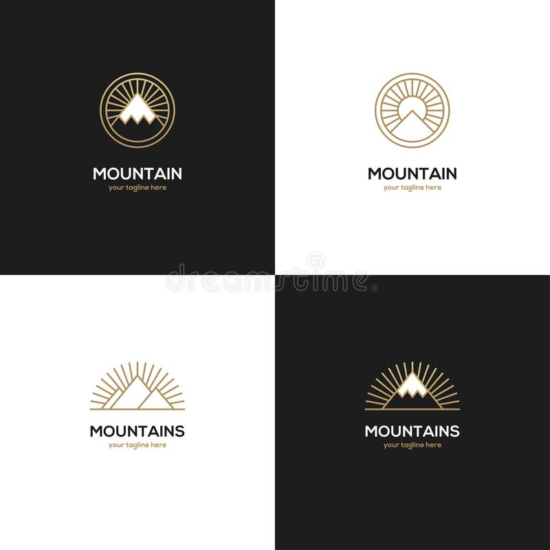 Four mountain logo in golden color. royalty free illustration
