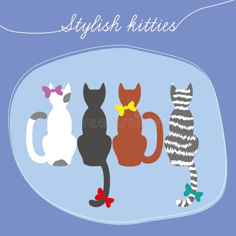 Four multi-colored cats sit back stock illustration