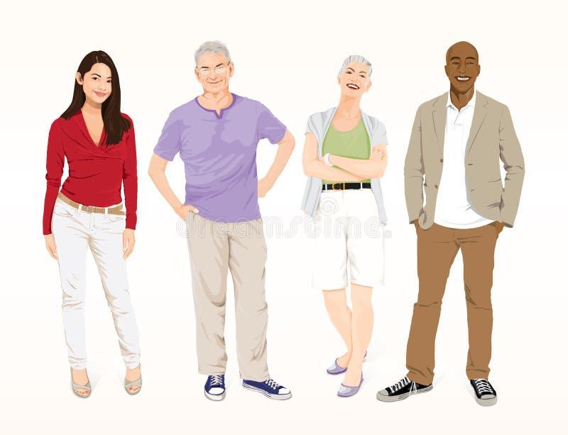 Four Multi Ethnic detailed people Vectors. stock illustration