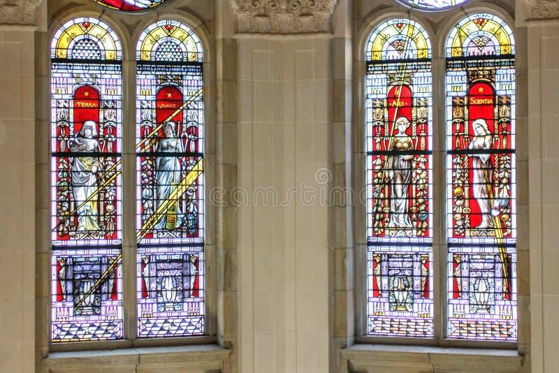 The four mythology elements. Castle stained glass window represent the four mythology elements royalty free stock image