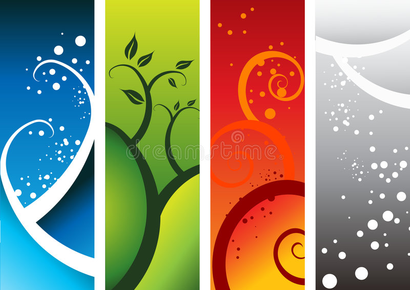 Four Natural Elements stock illustration