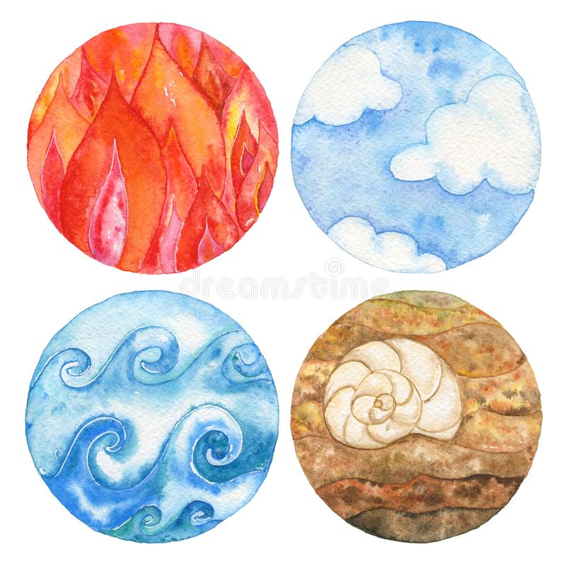 Four natural elements: fire, water, earth and air. stock illustration