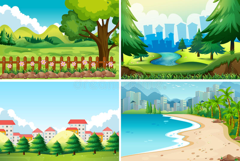 Four nature scene at daytime stock illustration