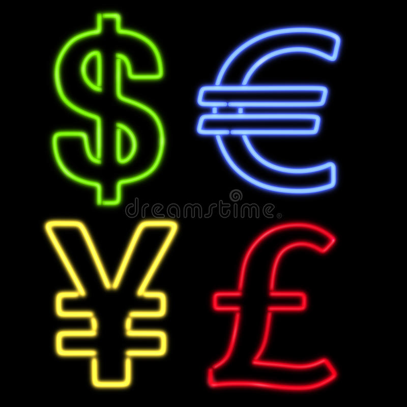 Four Neon Currency Symbols On Black Royalty Free Stock Image