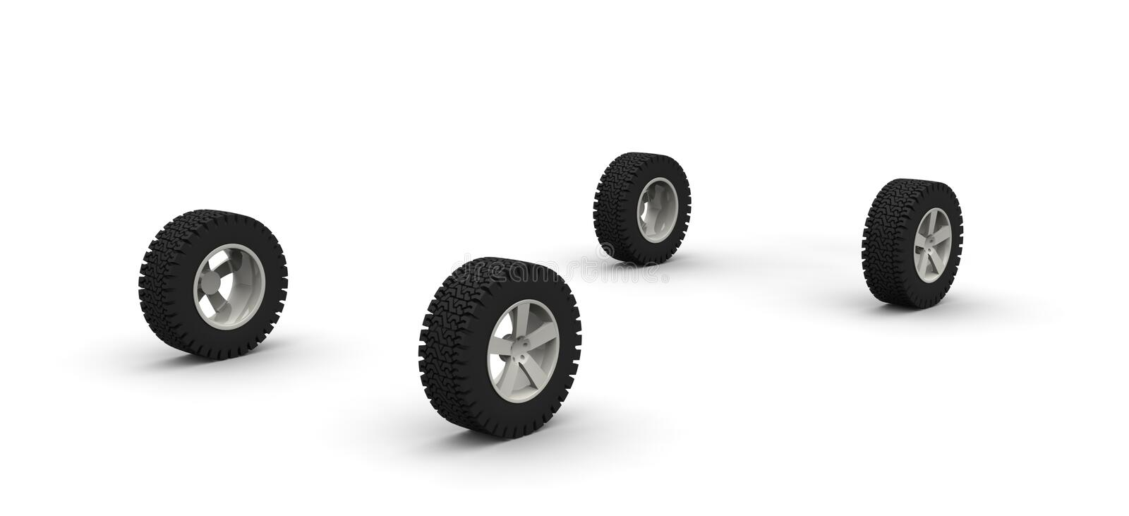 Four new off-road car wheels royalty free stock photo