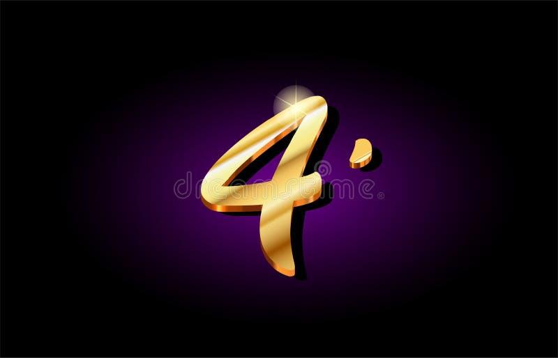 3d Golden Number 4 Stock Illustration  Illustration Of