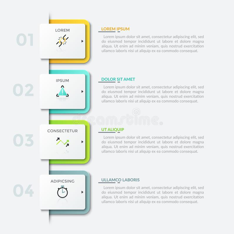 Modern infographic design template. Four numbered square paper white elements placed into vertical row, thin line pictograms and text boxes. Modern infographic stock illustration