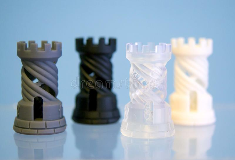 Four Objects photopolymer printed on a 3d printer. royalty free stock images